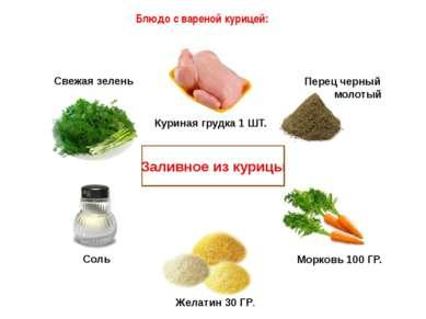 Блюдо с вареной курицей: Заливное из курицы Желатин 30 ГР. Морковь 100 ГР. Пе...