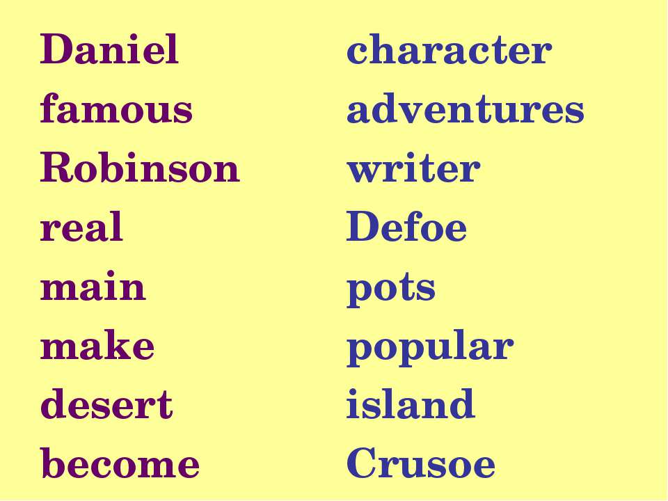 Daniel famous Robinson real main make desert become character adventures writ...