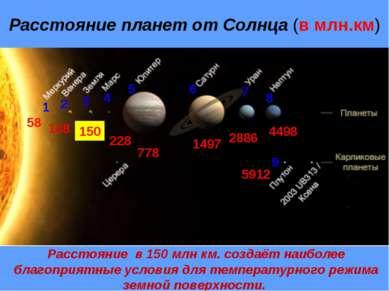 Расстояние планет от Солнца (в млн.км) 1 58 2 108 3 150 4 228 5 778 6 1497 7 ...