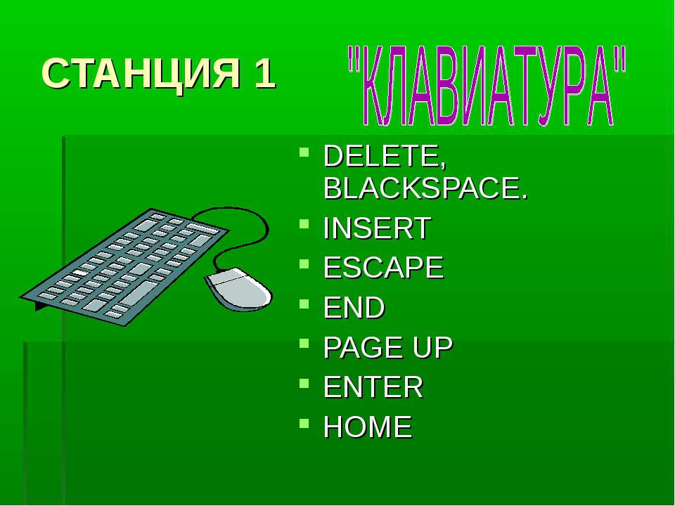 СТАНЦИЯ 1 DELETE, BLACKSPACE. INSERT ESCAPE END PAGE UP ENTER HOME