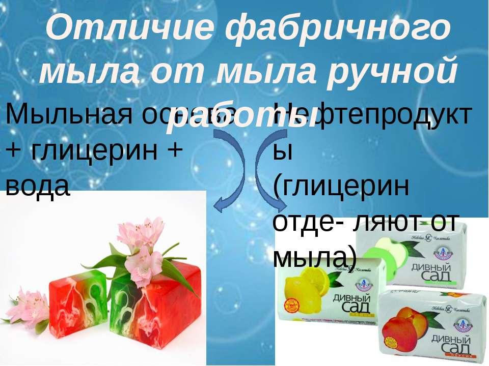 Мыльная основа + глицерин + вода Нефтепродукты (глицерин отде- ляют от мыла) ...