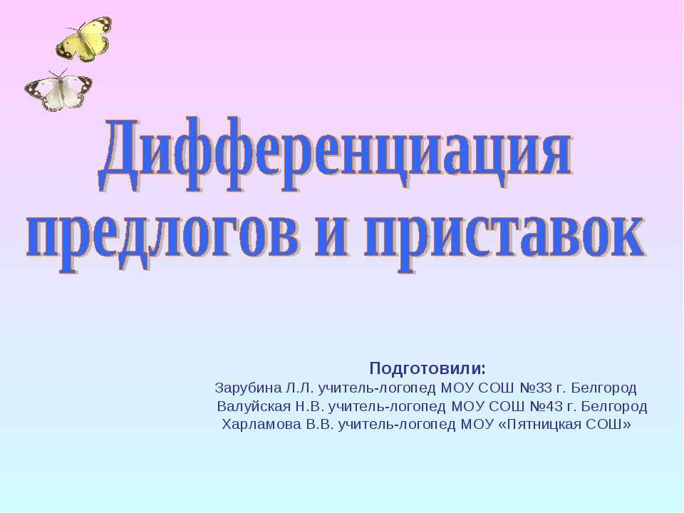 Подготовили: Зарубина Л.Л. учитель-логопед МОУ СОШ №33 г. Белгород Валуйская ...
