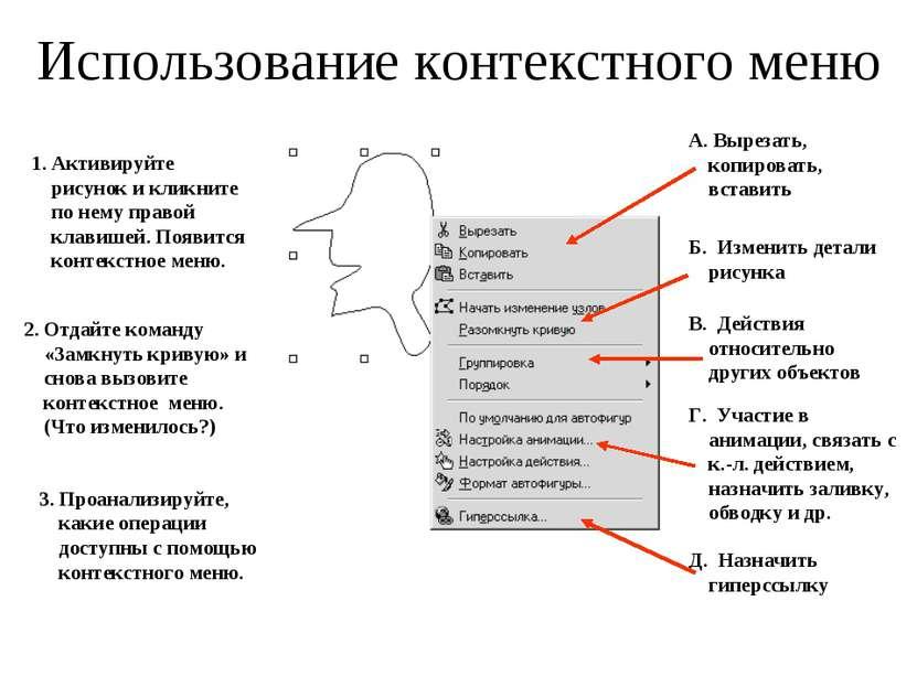 Использование контекстного меню 1. Активируйте рисунок и кликните по нему пра...