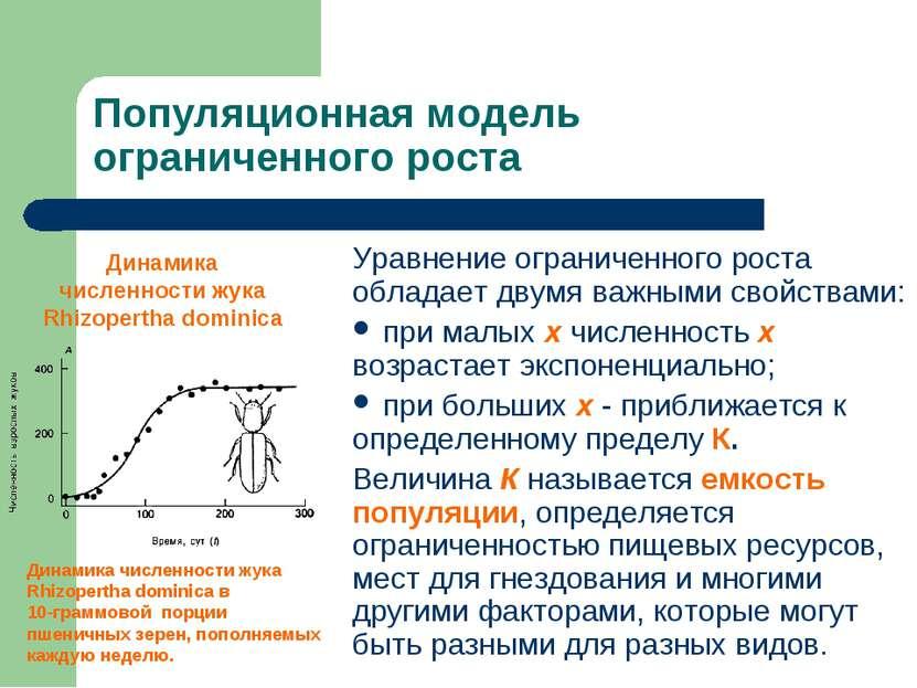 Популяционная модель ограниченного роста Уравнение ограниченного роста облада...
