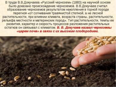В труде В.В.Докучаева «Русский чернозем» (1883) на научной основе было доказа...