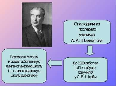 Стал одним из последних учеников А. А. Шахматова Переехал в Москву и создал с...