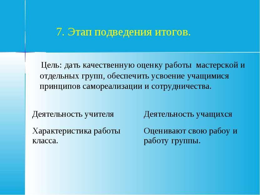 7. Этап подведения итогов. Цель: дать качественную оценку работы мастерской и...