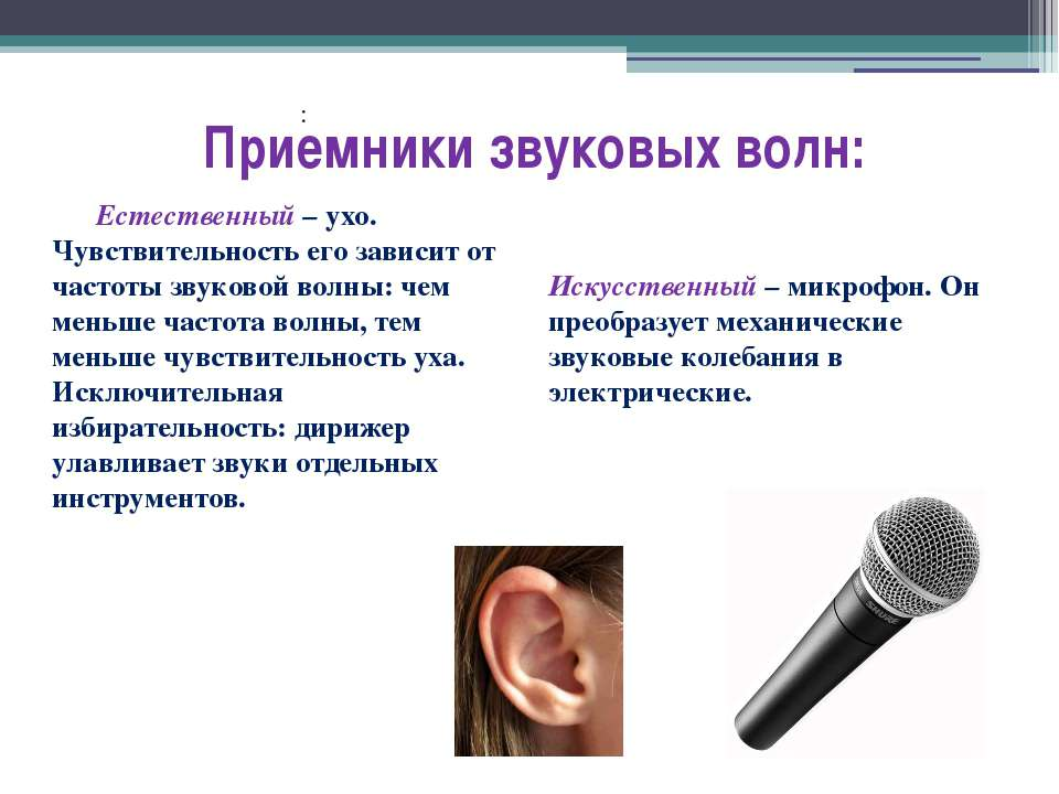 : Приемники звуковых волн: Естественный – ухо. Чувствительность его зависит о...