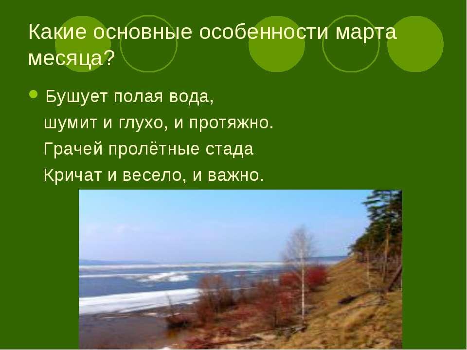 Какие основные особенности марта месяца? Бушует полая вода, шумит и глухо, и ...