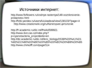 Источники интернет: http://www.floflowers.ru/vodnye-rasteniya/148-vozniknoven...