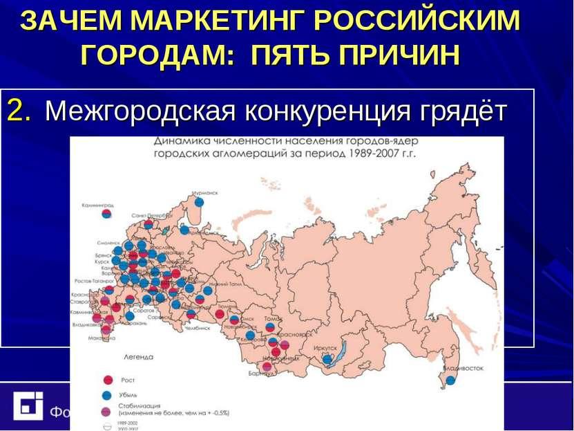 ЗАЧЕМ МАРКЕТИНГ РОССИЙСКИМ ГОРОДАМ: ПЯТЬ ПРИЧИН Межгородская конкуренция грядёт