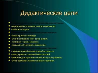 Дидактические цели 1.Формирование коммуникативной компетентности: -умение кра...
