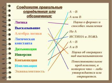Соедините правильные определения или обозначения: Логика Высказывание Алгебра...