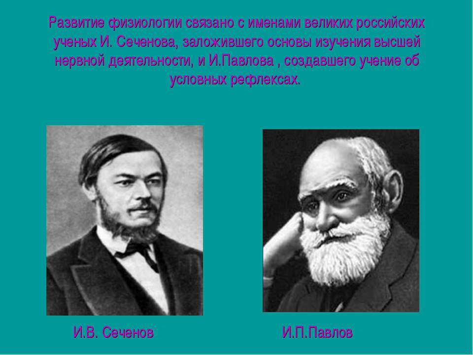 Развитие физиологии связано с именами великих российских ученых И. Сеченова, ...