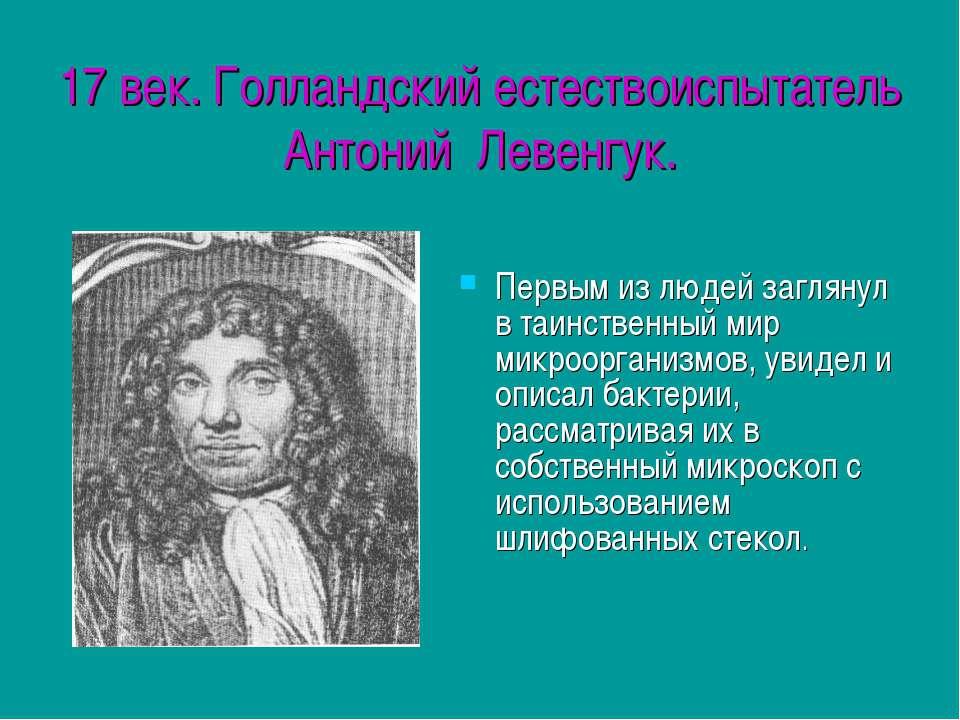 17 век. Голландский естествоиспытатель Антоний Левенгук. Первым из людей загл...