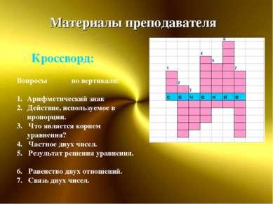 Материалы преподавателя Вопросы по вертикали: Арифметический знак Действие, и...