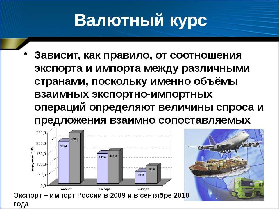Валютный курс Зависит, как правило, от соотношения экспорта и импорта между р...