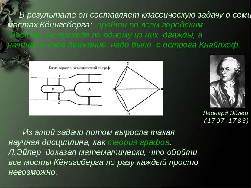 Из этой задачи потом выросла такая научная дисциплина, как теория графов. Л.Э...