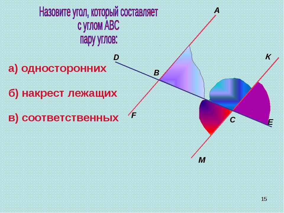 B A M E C F D а) односторонних К б) накрест лежащих в) соответственных *