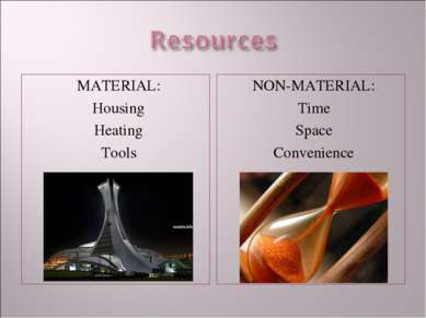 MATERIAL: Housing Heating Tools NON-MATERIAL: Time Space Convenience