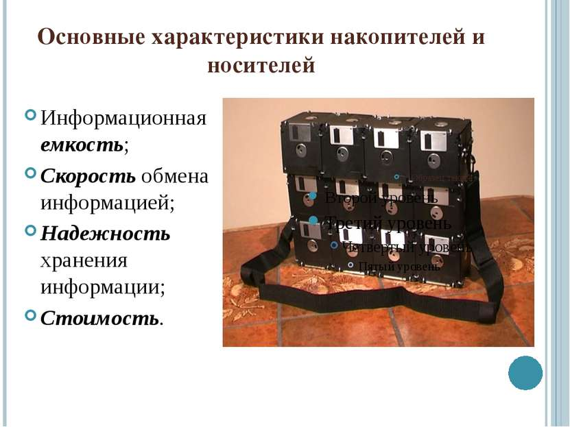 Основные характеристики накопителей и носителей Информационная емкость; Скоро...