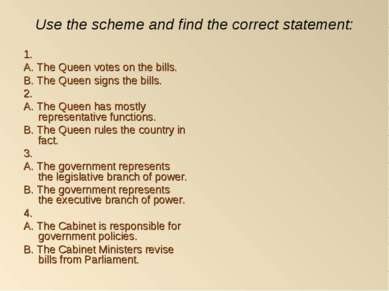 Use the scheme and find the correct statement: 1. A. The Queen votes on the b...