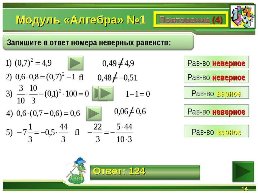 Модуль «Алгебра» №1 * ⇒ ⇒