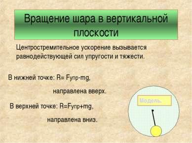 Вращение шара в вертикальной плоскости Центростремительное ускорение вызывает...
