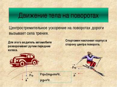 Движение тела на поворотах Центростремительное ускорение на поворотах дороги ...