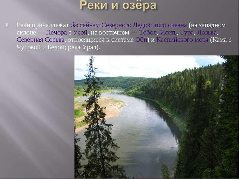 Реки принадлежат бассейнам Северного Ледовитого океана (на западном склоне— ...