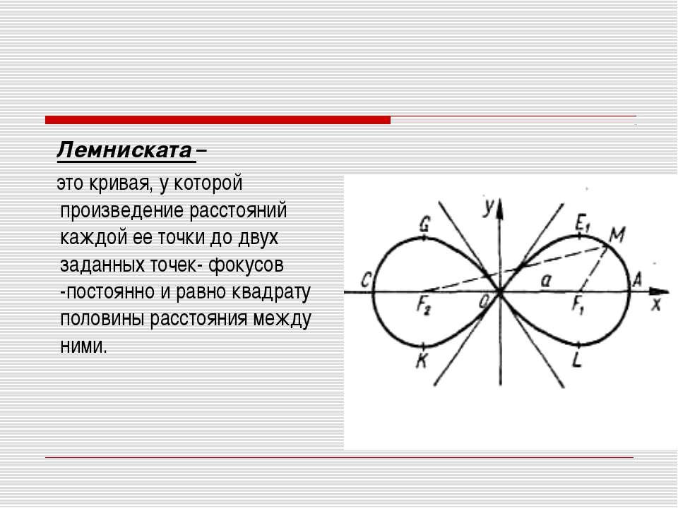 Лемниската – это кривая, у которой произведение расстояний каждой ее точки до...