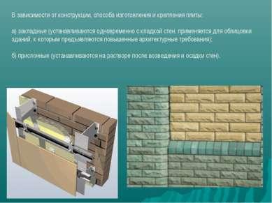 В зависимости от конструкции, способа изготовления и крепления плиты: а) закл...