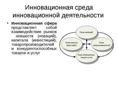 Инновационная среда инновационной деятельности Инновационная сфера представля...