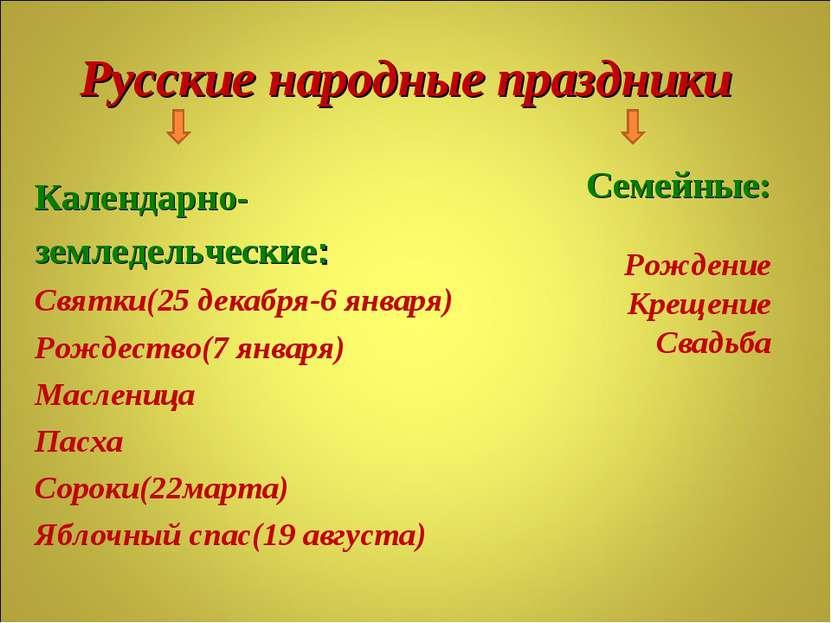Русские народные праздники Календарно- земледельческие: Святки(25 декабря-6 я...