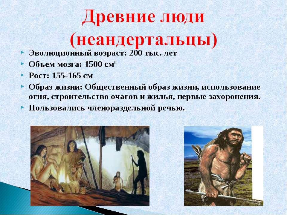 Эволюционный возраст: 200 тыс. лет Объем мозга: 1500 см3 Рост: 155-165 см Обр...