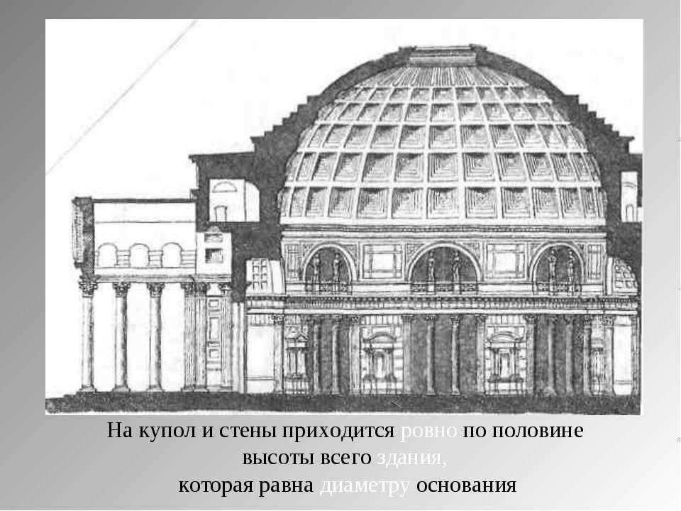 На купол и стены приходится ровно по половине высоты всего здания, которая ра...