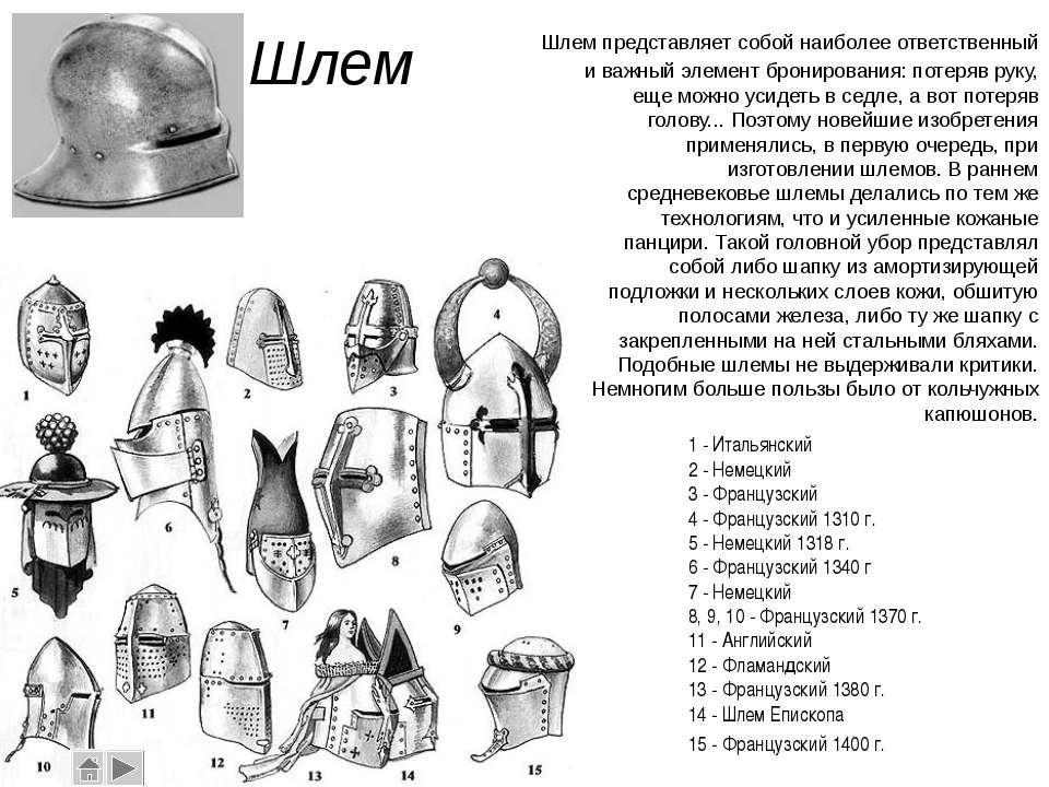 Шлем Шлем представляет собой наиболее ответственный и важный элемент брониров...