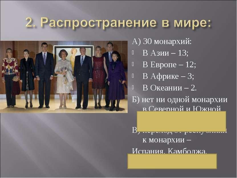 А) 30 монархий: В Азии – 13; В Европе – 12; В Африке – 3; В Океании – 2. Б) н...