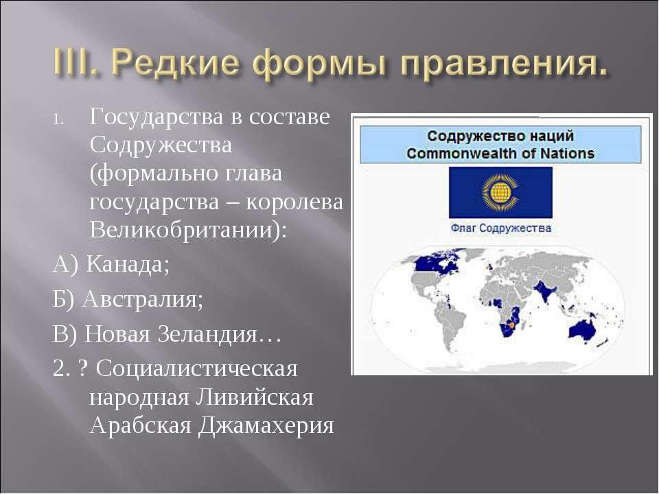 Государства в составе Содружества (формально глава государства – королева Вел...