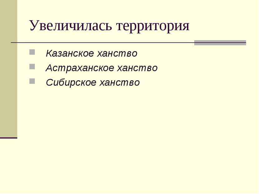 Увеличилась территория Казанское ханство Астраханское ханство Сибирское ханство