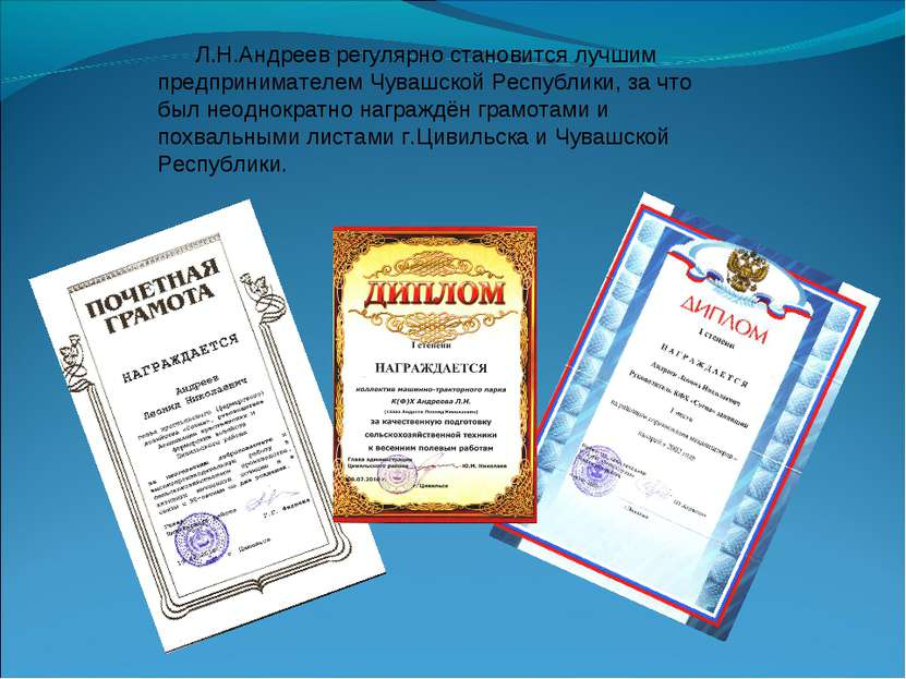 Л.Н.Андреев регулярно становится лучшим предпринимателем Чувашской Республики...