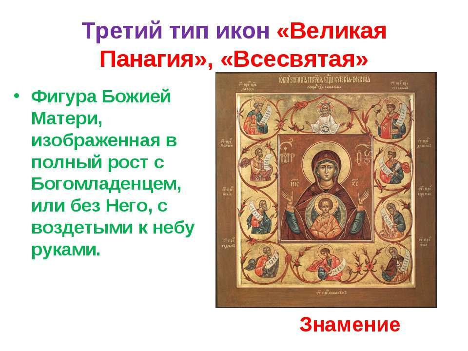 Третий тип икон «Великая Панагия», «Всесвятая» Фигура Божией Матери, изображе...