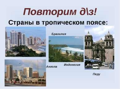 Повторим д\з! Страны в тропическом поясе: Бразилия Перу Ангола Индонезия