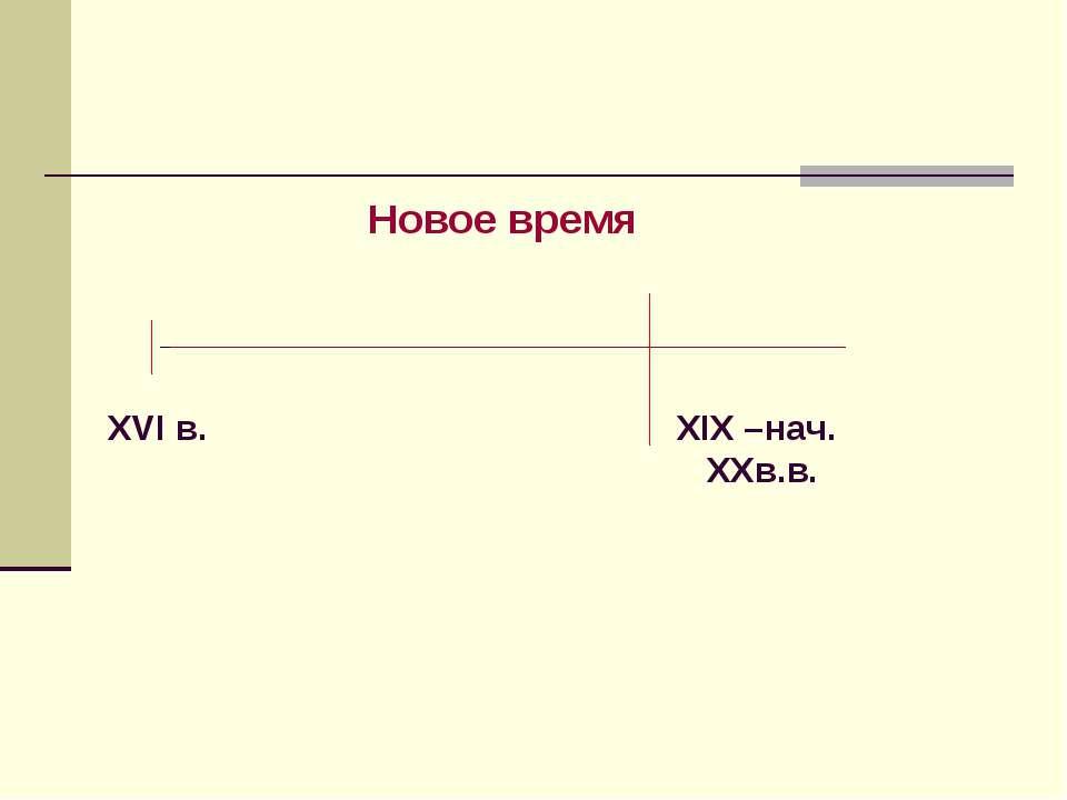Новое время XIX –нач. XXв.в. XVI в.
