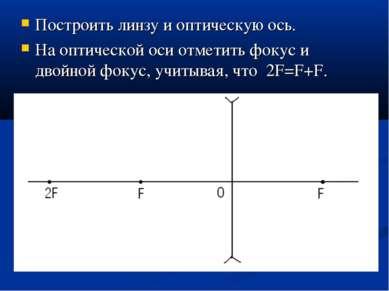 Построить линзу и оптическую ось. На оптической оси отметить фокус и двойной ...