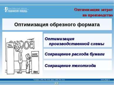 13 Оптимизация обрезного формата Оптимизация производственной схемы Оптимизац...