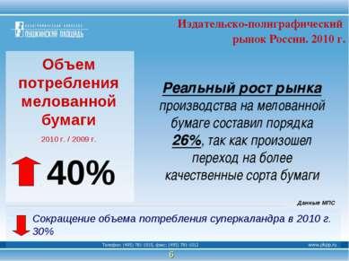 Объем потребления мелованной бумаги 2010 г. / 2009 г. Реальный рост рынка про...