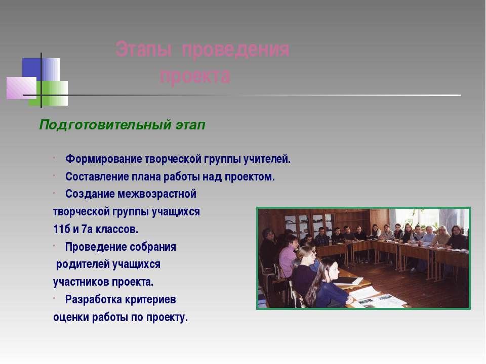 Этапы проведения проекта Подготовительный этап Формирование творческой группы...