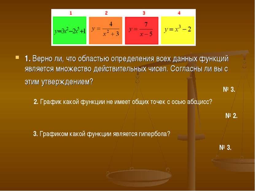 1. Верно ли, что областью определения всех данных функций является множество ...