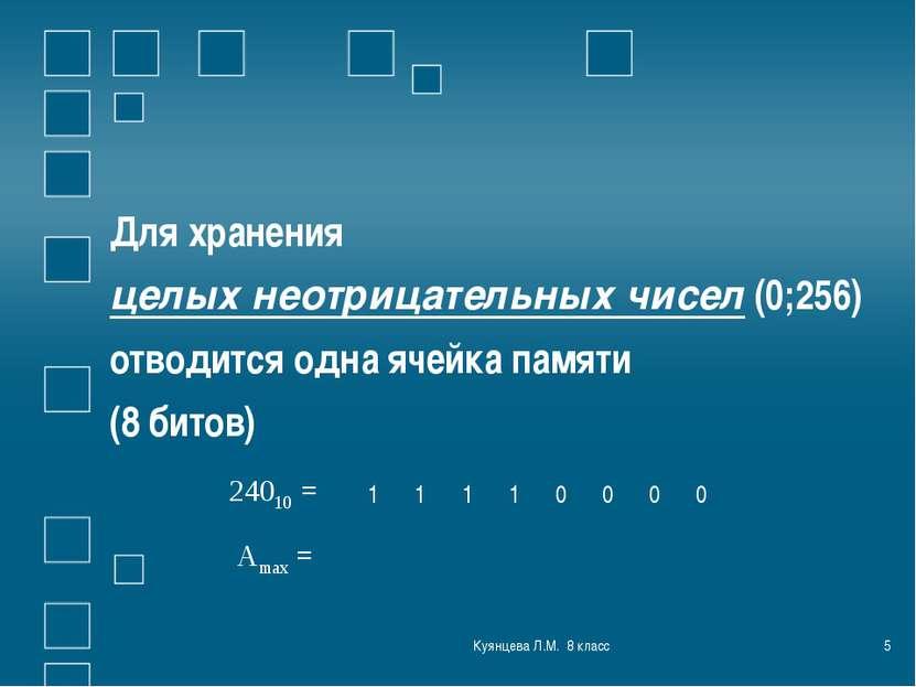 Куянцева Л.М. 8 класс * Для хранения целых неотрицательных чисел (0;256) отво...